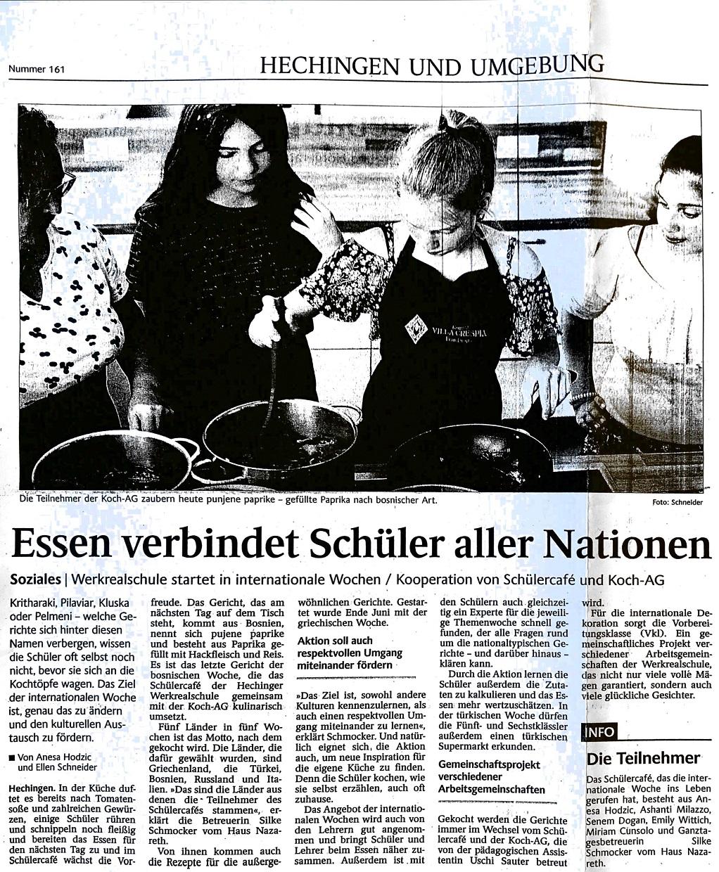 Zeitungsartikel. Essen verbindet Sch?ler aller Nationen.