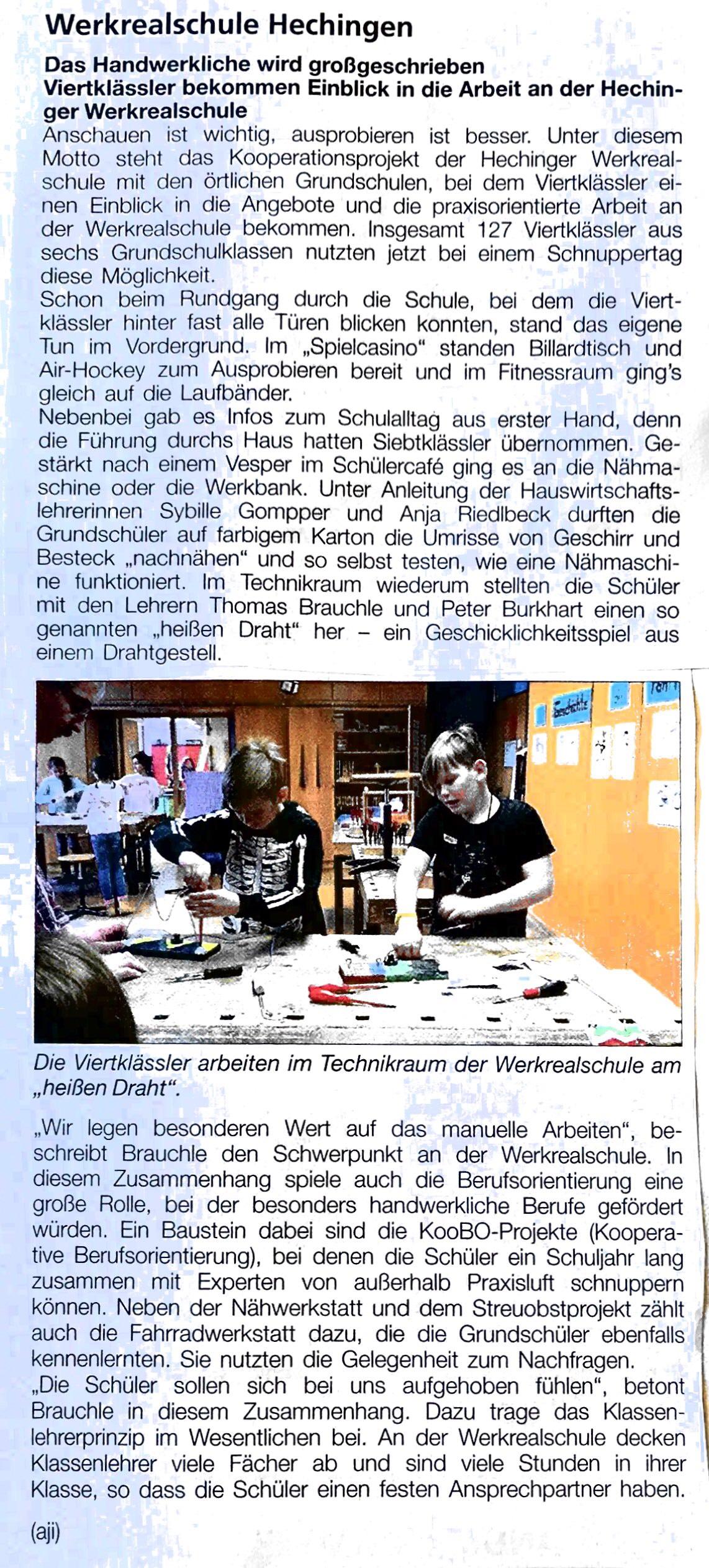 Zeitungsartikel. Viertkl?ssler bekommen Einblick in die Arbeit an der Hechinger Werksrealschule.